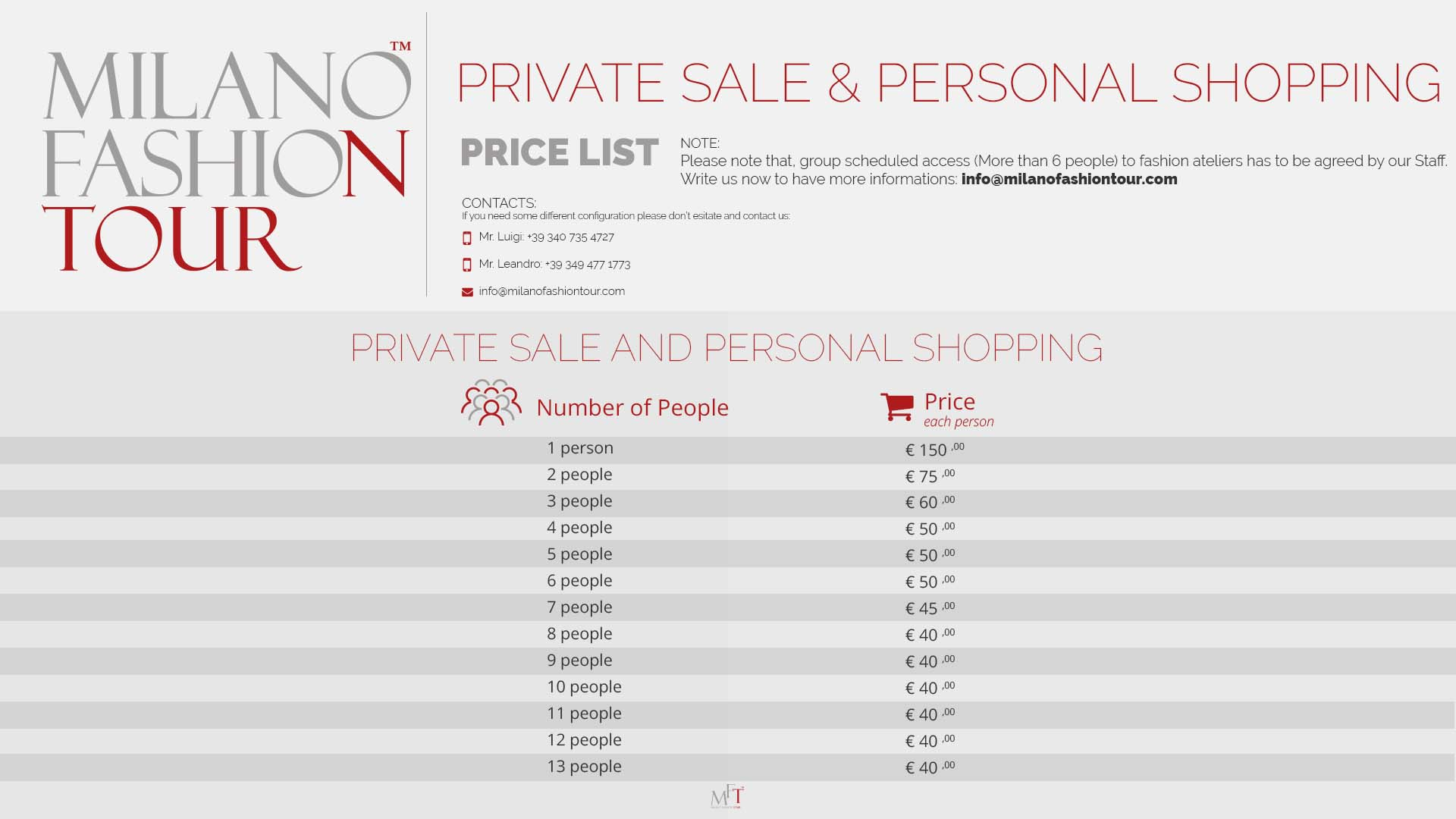 price-list - Milano Fashion Tour